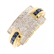 Bague pavage diamants et saphirs en or bicolore