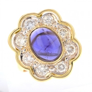 Bague marguerite saphir cabochon 3.70 carats et diamants 0.70 carat en or bicolore
