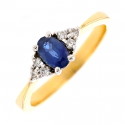 Bague saphir 0.45 carat et diamants 0.06 carat en or bicolore