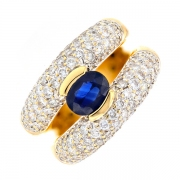 Bague saphir 1.80 carat et diamants 3.10 carats en or bicolore