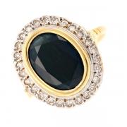 Bague Pompadour saphir 4.30 carats et diamants 0.26 carat en or bicolore