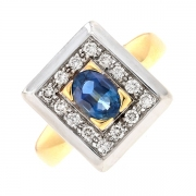 Bague rectangulaire saphir 1.06 carat et diamants 0.28 carat en or bicolore