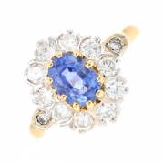 Bague marguerite saphir 1 carat et diamants 0.55 carat en or bicolore