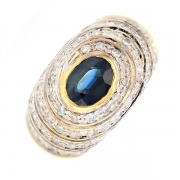 Bague saphir 1.60 carat et diamants 0.56 carat en or bicolore