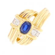 Bague saphir 0.37 carat et diamants 0.04 carat en or bicolore