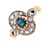 Bague saphir et diamants 0.05 carat en or bicolore