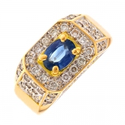 Bague saphir 0.68 carat et diamants 0.46 carat en or bicolore