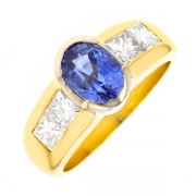 Bague saphir 1.80 carat et diamants 0.92 carat en or bicolore