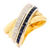 Bague saphirs 0.52 carat et diamants 0.09 carat 2 ors