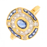 Bague saphirs 0.15 carat et diamants 0.08 carat 2 ors