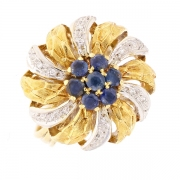 Bague saphirs et diamants 0.09 carat 2 ors