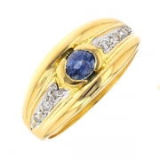 Bague saphir 0.45 carat et diamants 2 ors
