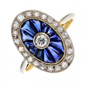 Bague saphirs 0.80 carat et diamants 0.33 carat 2 ors