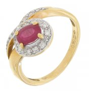 Bague diamants 0,12 carat et rubis en or jaune et or blanc