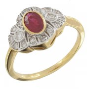 Bague rubis 0,60 carat et diamants 0,20 carat en or bicolore