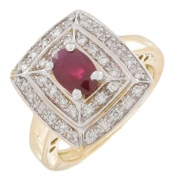 Bague rubis 0,76 carat et diamants 0,37 carat sur or bicolore