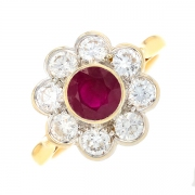 Bague marguerite rubis 1.20 carat et diamants 1.20 carat en or bicolore