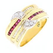 Bague rubis 0.24 carat et diamants 0.40 carat en or bicolore