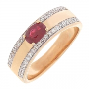 Bague jonc rubis 0,50 carat et diamants 0,40 carat en or bicolore