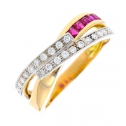 Bague rubis 0.15 carat et diamants 0.22 carat en or bicolore