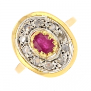 Bague ovale rubis 0.40 carat et diamants 0.10 carat en or bicolore