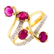 Bague rubis 1.16 carat et diamants 0.04 carat en or bicolore
