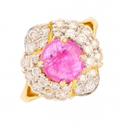 Bague rubis 2.34 carats et diamants 1.13 carat en or bicolore