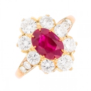 Bague marguerite rubis 2 carats et diamants 2 carats en or bicolore