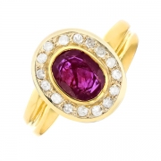 Bague rubis 0.88 carat et diamants 0.32 carat en or bicolore