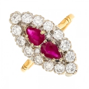 Bague marquise rubis 1.20 carat et diamants 1.29 carat en or bicololore