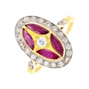 Bague ovale rubis et diamants en or bicolore