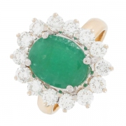 Bague fleur �meraude et diamants 1,40 carat en or bicolore - Occasion