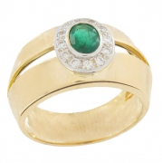 Bague �meraude 0,50 carat et diamants 0,30 carat en or bicolore