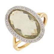 Bague diamants 0,10 carat et quartz sur or bicolore