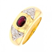 Bague jonc grenat 0,70 carat et diamants 0,27 carat en or bicolore