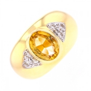 Bague citrine 1.60 carat et diamants 0.18 carat en or bicolore