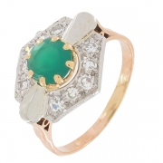 Bague diamants 0,30 carat et chrysoprase sur or bicolore