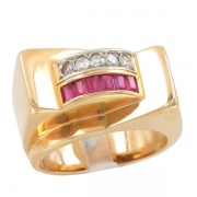 Bague Tank Ancienne 2 Ors Diamant Pierres Rouge Synth�tiques. Vers 1940