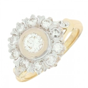 Bague marguerite diamants 0,80 carat en or bicolore