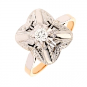 Bague ART DECO diamant 0,17 carat en or bicolore