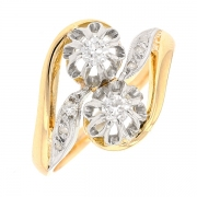 Bague style TOI & MOI diamants 0.07 carat en or bicolore
