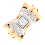 Bague noeud diamants 0.11 carat en or bicolore