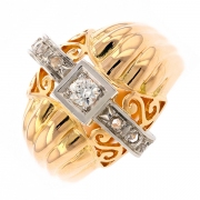 Bague diamants 0.15 carat en or bicolore