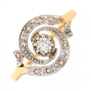 Bague tourbillon diamants taille ancienne 0.20 carat en or bicolore