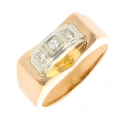 Bague diamants 0.075 carat en or bicolore