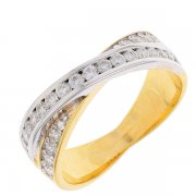 Bague entrelacs diamants 0,52 carat en or bicolore