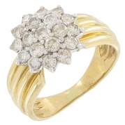 Bague fleur diamants 0,90 carat en or bicolore