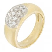 Bague coeur diamants 0,42 carat en or bicolore