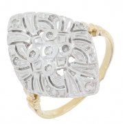Bague marquise diamants 0,04 carat en or jaune et or blanc