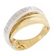 Bague entrelacs diamants 0,20 carat en or jaune et or blanc